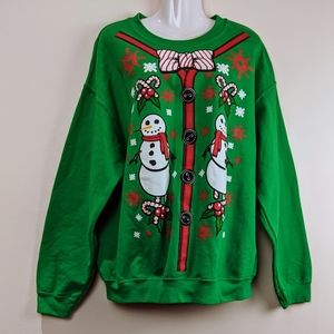 Ugly Christmas Sweater Holiday Grinch Snow Man L